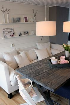 This is an awesome dining room set up especially the child seat at the end.