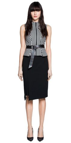 CUE - Striped Cotton Peplum Top. RRP $229.