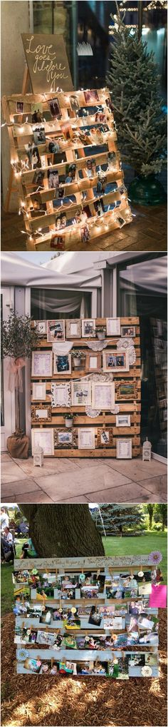 country wedding photo display ideas with wood pallets