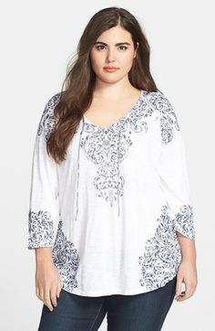 Lucky Brand 'Richmond' Printed Tee (Plus Size)