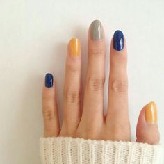 Mustard yellow, navy blue and grey