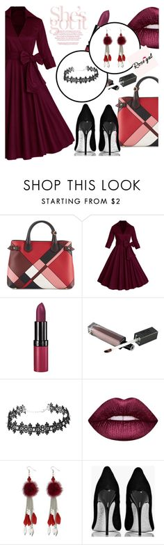 """""""ROSEGAL"""" by selmir ❤ liked on Polyvore featuring Burberry, Rimmel, Lime Crime, Boohoo, vintage, dress and polyvoreeditorial"""