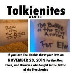 I will be representing both the Elves and the Dwarve.... Because (SPOILERS) Bilbo was unconscious during that battle and no other Hobbits showed up -_-
