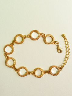 Crystal Clear Disc Bracelet, Clear Resin Disc Bracelet, Transparent Disc Bracelet, Gold Bracelet