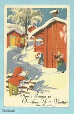 Olavi Vikainen Vintage Cards, Vintage Postcards, Xmas Greetings, Gnomes, Elves, Troll, Martini, Scandinavian, Christmas Cards