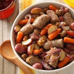 Bratwurst Supper Recipe from Taste of Home -This meal-in-one grills to perfection in a heavy-duty foil bag and is ideal for camping. Loaded with chunks of bratwurst, red potatoes, mushrooms and carrots, it's easy to season with onion soup mix and a little soy sauce.                                                               —Janice Meyer                                                               Medford, Wisconsin