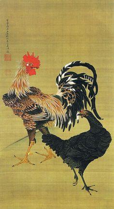 Jakuchu large chicken male and female figure and (Zu type male and female)