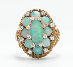 A Ladies' Opal and Diamond Ring