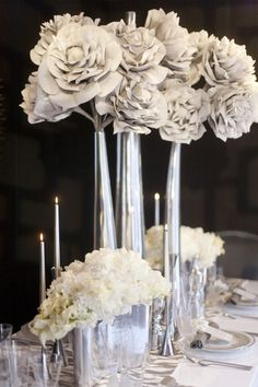 gray/silver wedding centerpieces