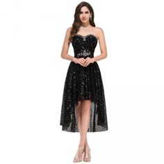 The grace of Karen Black 2016 High Low Prom Dresses prom dresses short in front and long back sexy sequin party dress