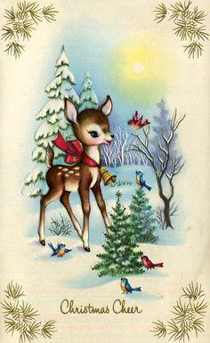 Vintage Christmas Greeting Card Cute Little Reindeer Deer Birds Bell Sweet Christmas Scenes, Christmas Deer, Retro Christmas, Christmas Holidays, Christmas Crafts, Images Vintage, Vintage Christmas Images, Vintage Holiday, Christmas Pictures