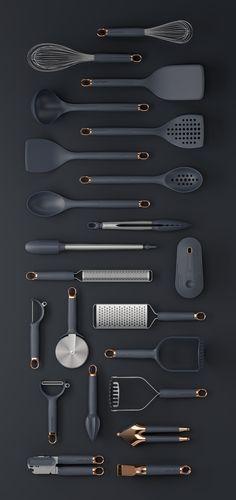 Klicken Sie auf Clack Prep Tools on Behance - Küchengeräte Cool Kitchen Gadgets, Kitchen Items, Home Decor Kitchen, Cool Kitchens, Design Kitchen, Kitchen Interior, Modern Kitchens, Kitchen Products, Gold Kitchen Utensils