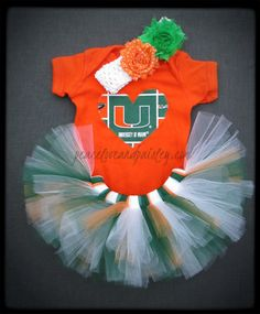 Hurricanes Tutu, Onesie and Headband Set Made from University of Miami Fabric
