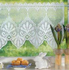 World crochet: Curtain 58 Crochet Curtain Pattern, Crochet Curtains, Curtain Patterns, Lace Curtains, Crochet Tablecloth, Crochet Doilies, Short Curtains, Crochet Art, Thread Crochet