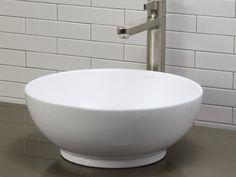 Ceramic Bathroom Vessel Sinks-White Round Ceramic Vessel Sink With Overflow