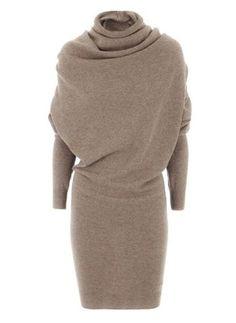 Baumwolle Solide Lange Ärmel Über dem Knie Elegant Kleider