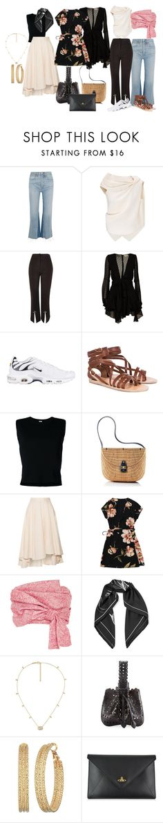"""Vacay"" by oliviastellawallin on Polyvore featuring RE/DONE, Roland Mouret, Topshop, For Love & Lemons, NIKE, Ancient Greek Sandals, Rito, Mark & Graham, Miguelina and Adeam"