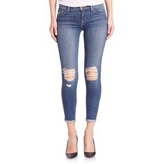 J BRAND Distressed Cuffed Mid-Rise Capri Jeans ($250) ❤ liked on Polyvore featuring jeans, apparel & accessories, breathless, ripped jeans, blue capris, distressed skinny jeans, mid rise skinny jeans and skinny jeans