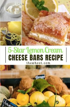 These Lemon Cream Cheese Bars are beyond delicious and the tangy, zesty flavour is fresh and makes for the perfect dessert. You won't be disappointed. Lemon Dessert Recipes, Lemon Recipes, Fun Desserts, Cookie Desserts, Holiday Desserts, Sweet Recipes, Cake Recipes, Lemon Cream Cheese Bars, Cream Cheese Recipes