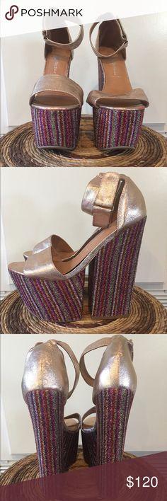 Sparkly Jeffery Campbell Platforms Metallic rose gold and sparkle Jeffery Campbell party shoes. Never worn! Jeffrey Campbell Shoes Platforms