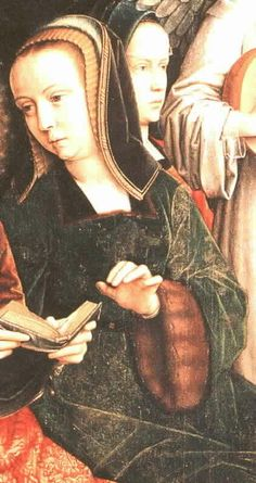 Gerard David, 1509  Detail from Virgin among Virgins. Flemish, similar to Juana's (of course).