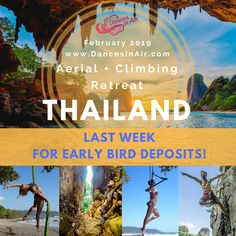 """Want to commit to starting 2019 with one of the most amazing adventures of your life?! Boost your aerial training and artistry with daily workshops this winter while you cool off in the ocean? How about climbing """"climber's paradise"""" in Krabi Peninsula and getting Thai massage after for $3-6?!!! YES! Only $350 to reserve your spot! (or whatever, drop me a line if you wanna commit with less, haha) More info at www.dancesinair.com Watch our videos and fall in love with THAILAND! link in bio! Thai Massage, Krabi, Amazing Adventures, Climbers, Falling In Love, Haha, Thailand, Paradise, Ocean"""