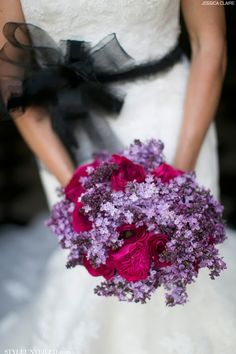 Flirty Lavender Lilac Bridal Bouquet with Pink Cabbage Roses