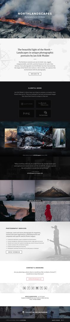 Long scrolling One Pager showcasing the photography of explorer Jan Erik Waider. Interesting 1320px fixed width on bigger screens, would love to see this much wider but definitely a method to save development time. Thanks for such great build notes Jan! (in the full review)