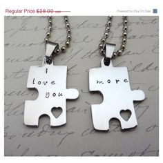 Puzzle Piece Couples Necklace Set - Hand Stamped Custom - His & Hers -... ($28) ❤ liked on Polyvore featuring jewelry, necklaces, stainless steel necklace, stainless steel jewelry, stainless steel jewellery, hand stamped necklace and hand stamped jewelry