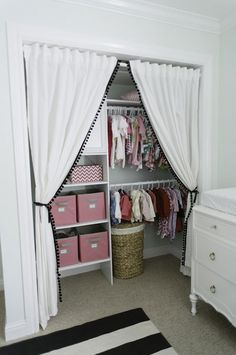 No closet doors. Use curtain and add shelving.
