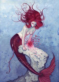 Mermaid ORIGINAL PAINTING Sea Rose Magic  - Just beautiful