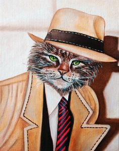 Rick Tracy PI   Cats in Clothes by k Madison Moore, painting by artist k. Madison Moore