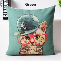Cartoon cat pillow creative hand painted design animal decorative pillows