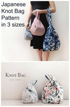 Japanese Knot Bag Pattern - Sew Modern Bags Sewing pattern for a Japanese Knot Bag. This simple to sew bag is the ideal bag sewing pattern for beginners. The longer loop pulls through the shorter one Bag Sewing Pattern, Bag Pattern Free, Easy Sewing Patterns, Bag Patterns To Sew, Easy Sewing Projects, Sewing Projects For Beginners, Sewing Tutorials, Sewing Hacks, Sewing Tips