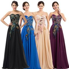 Plus Size Peacock Long Sexy Prom Evening Gown Masquerade Formal Homecoming Dress