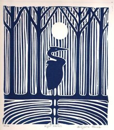 thewoodbetween: Night Heron - linocut- by Gregorio Perez Impression Textile, Linoleum Block Printing, Illustration Art, Illustrations, Linoprint, Linocut Prints, Bird Prints, Art Plastique, Woodblock Print
