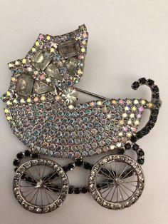 Vintage Dorothy Bauer Rhinestone Baby Carriage Brooch