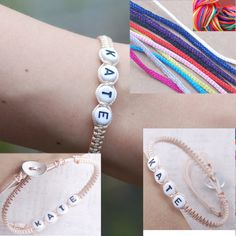 Personalised Bracelet Name alphabet letter Bead cord Friendship christening - really affordable item to be made for friends and family for the holiday gift giving. Can order for alot of people for a small price.