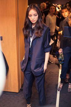 Fei Fei Sun (Elite) Backstage at Sonia Rykiel SS15