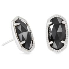 Kendra Scott Ellie Silver Stud Earrings in Black (3,195 INR) ❤ liked on Polyvore featuring jewelry, earrings, silver earrings, kendra scott jewelry, oval earrings, silver stud earrings and kendra scott