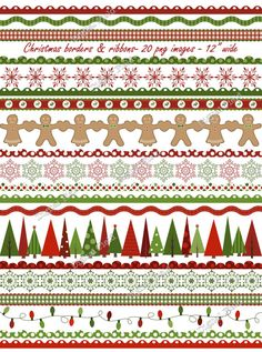 INSTANT DOWNLOAD Christmas borders and ribbons by digitalfield,