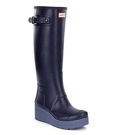 Hunter Womens Original Low Wedge Tall Rain Boots #Dillards
