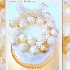 (Pretty Bauble Wreath Cake) http://www.mycakeschool.com/blog/ornament-wreath-️Tutorial/