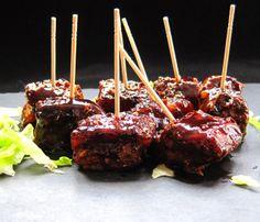 A Glug of Oil : SousVide Supreme Szechuan Pork Belly Bites with a BBQ Glaze, Kirkland Signature Sous Vide Pork Belly, Kirkland Signature So. Sous Vide Pork, Sous Vide Cooking, Pork Belly Strips, Pork Belly Recipes, Pork Dishes, Snacks, Pork Ribs, Bbq, Cooking Recipes