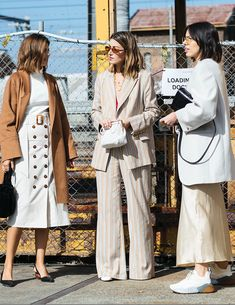 Australia Fashion Week Street Style from Sydney: street style girls wearing white and neutral tailoring