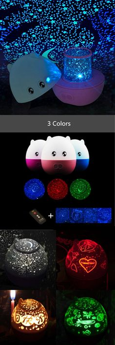 [Visit to Buy] Blue/Pink/Rose Mini Pig Shape Rotating Sky Star LED Projector Night Light with Speaker remote control #Advertisement