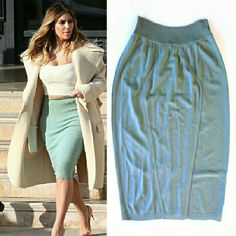 """Azzedine Alaia Sage Green Bodycon Skirt Very similar to the one seen on Kim K. 85% viscose 8% elastane 7% poly. Dry clean only.  Measurements taken with garment laid flat unstretched. Waist: 11"""" Hips: 19"""" Hemline across: 17"""" Length: 26.5"""" Band width vertically: 2.5"""" Good condition. A few small pulls but barely noticeable. Price reflects. Alaia Skirts"""