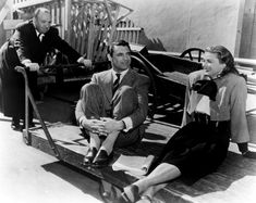 Alfred Hitchcock, Cary Grant and Ingrid Bergman behind the scenes on Notorious (1946).