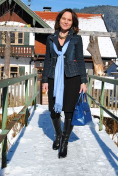 Lady of Style. A Fashion Blog for Mature Women. (black dress and denim with a pop of blue)