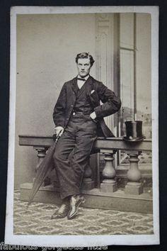 "Carte de Visite Photo Victorian Man Named ""Roby"" Umbrella Top Hat Men's Fashion"